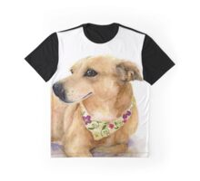Nixie the Carolina Dog in Watercolor Graphic T-Shirt