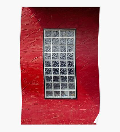 Glass Window on a Red Wall Poster