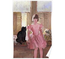 Girl with Black Cat Poster