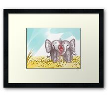 Happy Elephants in Love Framed Print