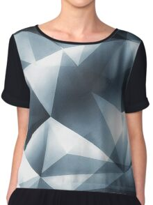 Abstract geometric triangle pattern ( Carol Cubism Style) in ice silver - gray Chiffon Top