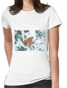 Frozen Leaf Covered With Snow Womens Fitted T-Shirt