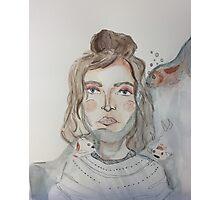 Koi Fish Girl Watercolor print Photographic Print