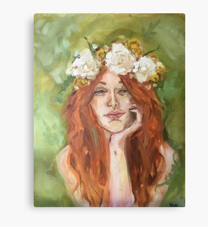 Red Head With Flower Crown Canvas Print