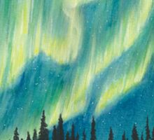 Green Northern Lights Watercolor Sticker