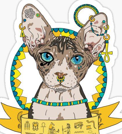 Egyptian Sphinx Cat Illustration Sticker