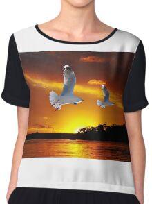 Golden seagull Ocean Sunrise Original exclusive photo art. Chiffon Top