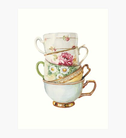 Vintage Tea Cups by Paris Lomé Art Print