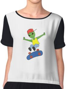 Funny Alien On Skateboard Chiffon Top