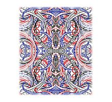 Hand Drawn Abstract Red White Blue Line Art Doodle Photographic Print
