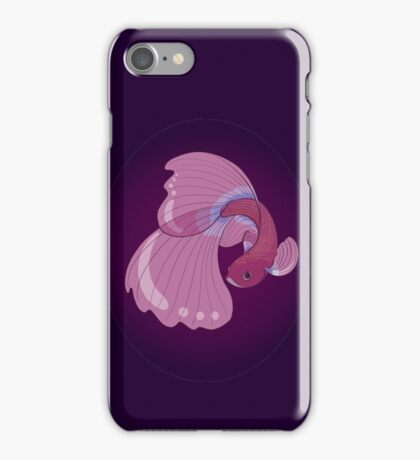 Purple, Gold and Blue Betta Fighting Fish  iPhone Case/Skin