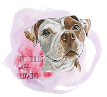 Pit Bulls Are Lovers Watercolor Painting Photographic Print