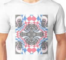 Hand Drawn Abstract Red White Blue Line Art Doodle Unisex T-Shirt