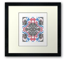 Hand Drawn Abstract Red White Blue Line Art Doodle Framed Print