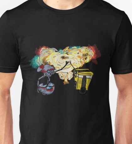Claptrap and Gortys in explosion Unisex T-Shirt