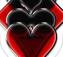 Poker Spades Hearts Diamonds Club Shiny Bling Overlap Sticker