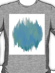 Abstract Painted Blue and Green Form on White Background T-Shirt