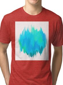 Abstract Painted Blue and Green Form on White Background Tri-blend T-Shirt