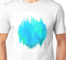 Abstract Painted Blue and Green Form on White Background Unisex T-Shirt
