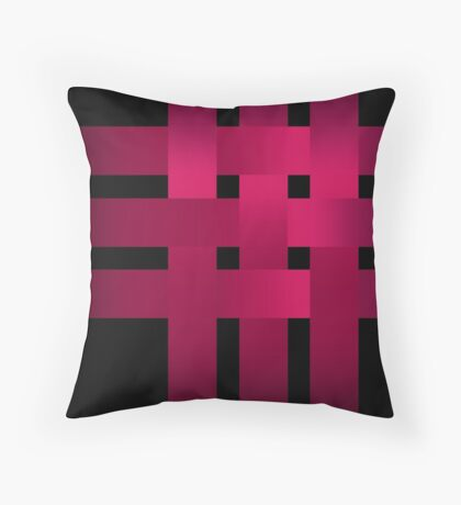 Satin red ribbons on black .  Throw Pillow