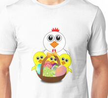 Funny Chicken and Chicks Cartoon Easter Unisex T-Shirt