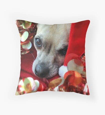Furry Friend Christmas Throw Pillow