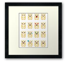 Emoji Guinea Pig Different Facial Expression Framed Print