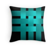 Satin turquoise ribbons on a black background . Throw Pillow
