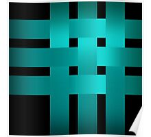 Satin turquoise ribbons on a black background . Poster