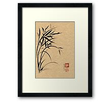 """Serene""  Sumi-e ladybug & bamboo ink brush painting Framed Print"