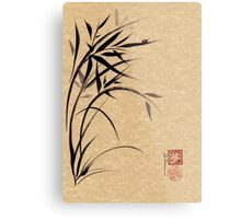 """Serene""  Sumi-e ladybug & bamboo ink brush painting Metal Print"