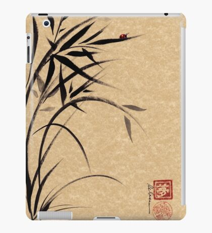 """Serene""  Sumi-e ladybug & bamboo ink brush painting iPad Case/Skin"
