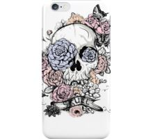 Skull and Flowers Vector Illustration Day of The Dead iPhone Case/Skin