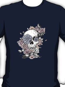 Skull and Flowers Vector Illustration Day of The Dead T-Shirt