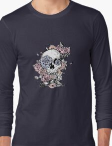 Skull and Flowers Vector Illustration Day of The Dead Long Sleeve T-Shirt