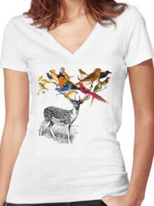 DEER BIRDY Women's Fitted V-Neck T-Shirt