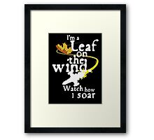 Leaf on the wind (white text) Framed Print