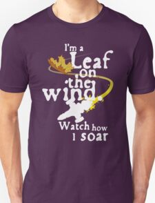 Leaf on the wind (white text) Unisex T-Shirt