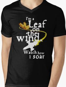 Leaf on the wind (white text) Mens V-Neck T-Shirt