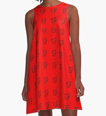 Pikachu Red Pattern A-Line Dress