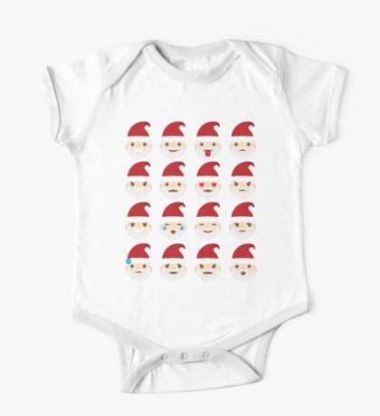 Emoji Christmas Santa Different Facial Expression One Piece - Short Sleeve