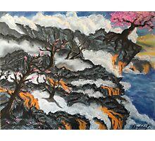 Cherry Blossom Trees in Lava Landscape Photographic Print