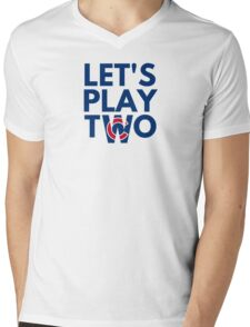 Cubs Let's Play Two Mens V-Neck T-Shirt