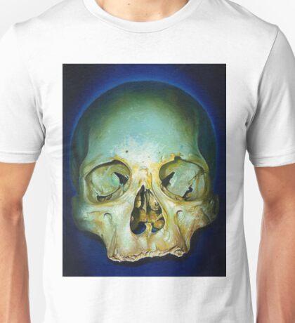 yellow blue realistic skull Unisex T-Shirt