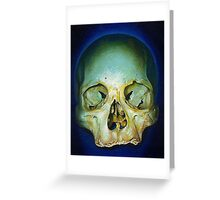 yellow blue realistic skull Greeting Card