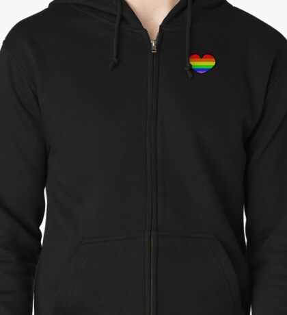 Gay pride rainbow heart  Zipped Hoodie