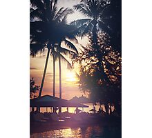 Tropical beach view. Palm trees and sunset sky. Photographic Print