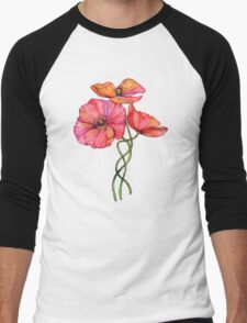 Peach & Pink Poppy Tangle Men's Baseball ¾ T-Shirt