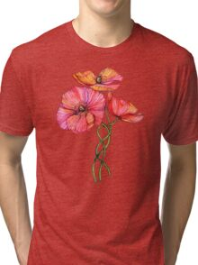 Peach & Pink Poppy Tangle Tri-blend T-Shirt