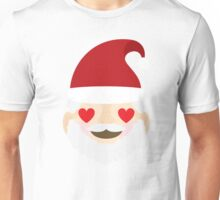 Emoji Christmas Santa Heart and Love Eyes Unisex T-Shirt